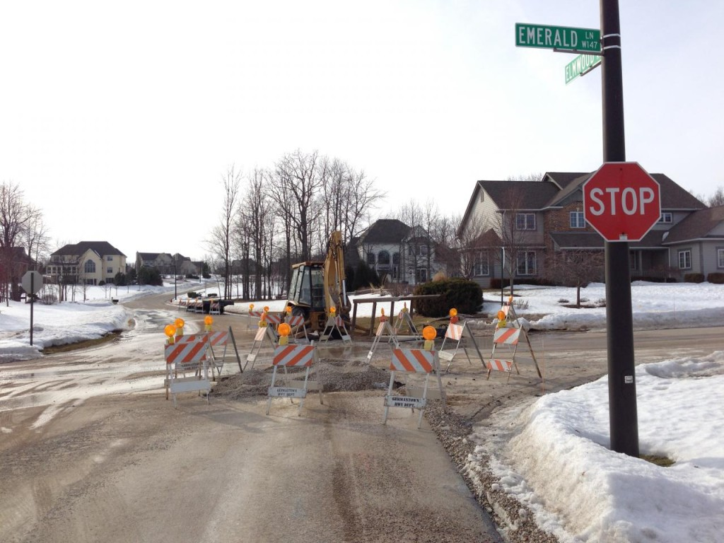 A water main broke on the morning of March 1, and Germantown crew fixed it before noon. Our property taxes at work!