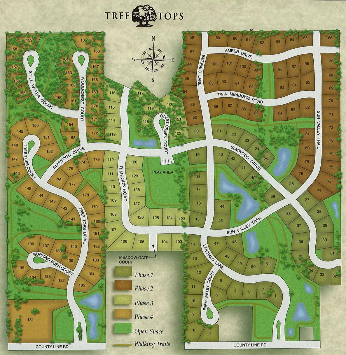 Tree Tops subdivision map: lots